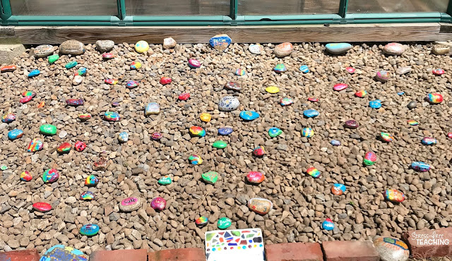 Partially filled in Kindness Rock Garden.
